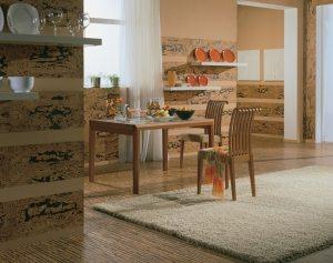 Кухня, оформленная с использованием пробковых панелей, выглядит очень стильно