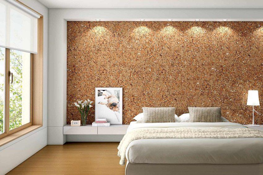 Оформление спальни с использованием пробковых панелей