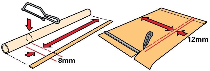 Шаг 4: при необходимости - подгонка вала и полотна под размеры оконной створки