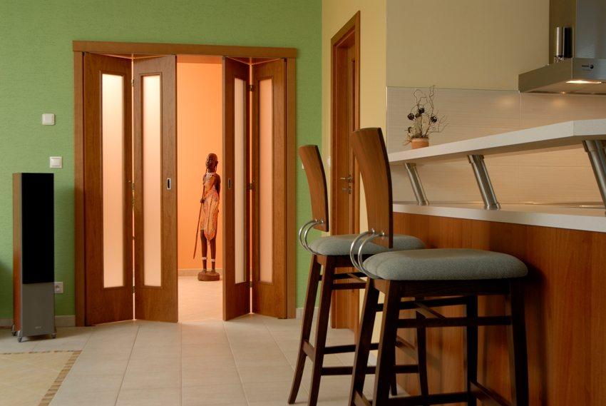 Практичная дверь-книжка со вставками из матового пластика в кухне-гостиной