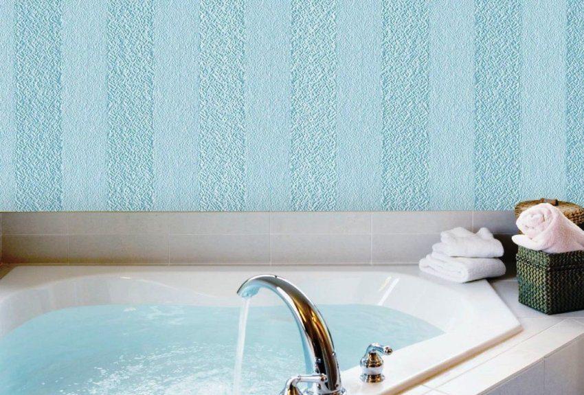 Отделка стен ванной комнаты стекловолоконным полотном