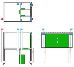 Схема обустройства приточно-вытяжной вентиляции в гараже с погребом, состоящим из нескольких отделений