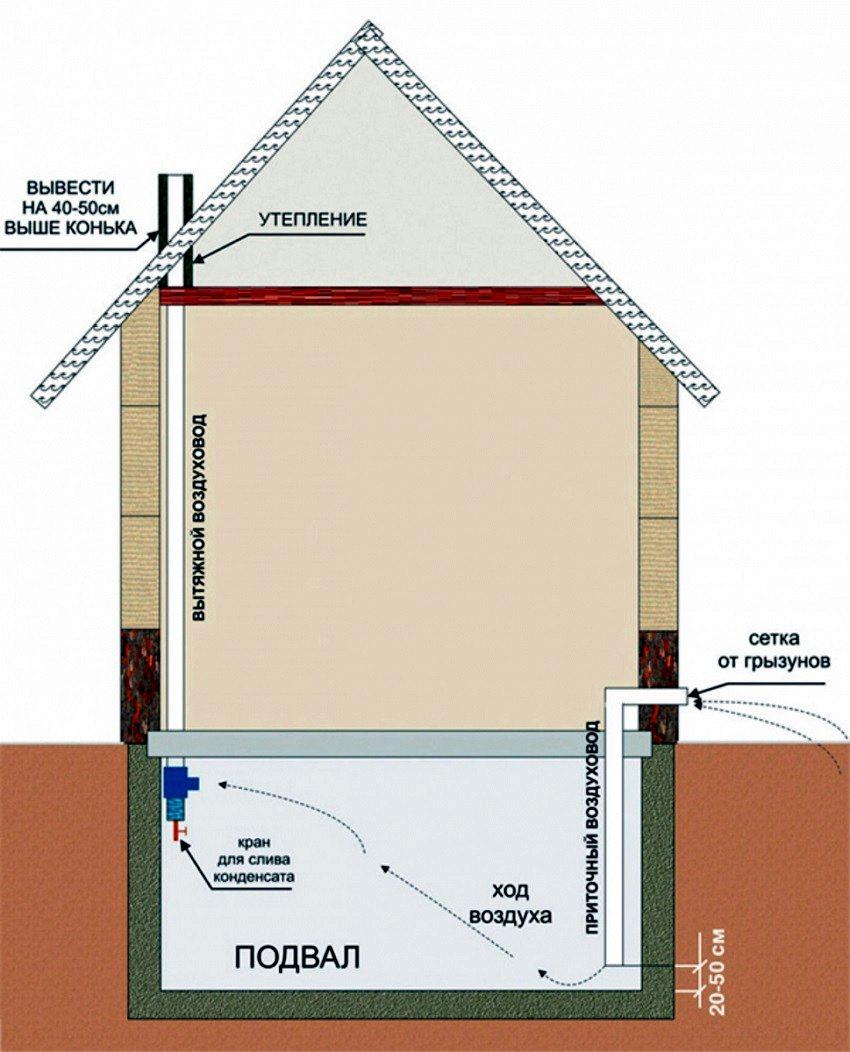 Для хорошего воздухообмена трубы приточно-вытяжной вентиляции должно быть расположены в противоположных углах погреба