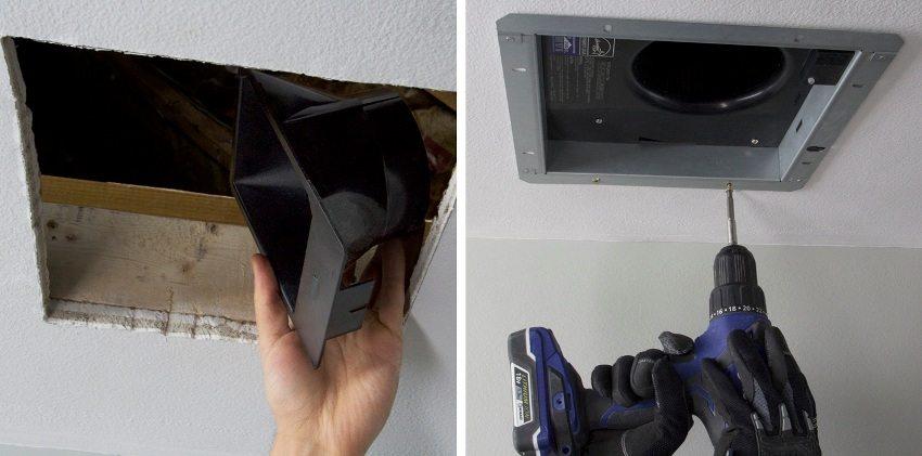 Шаги 1 и 2: подготовка вентиляционного отверстия и установка корпуса вентилятора