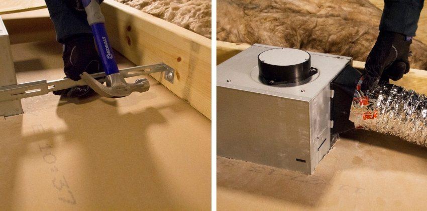 Шаги 3 и 4: обустройство вентиляционного канала и монтаж воздуховода