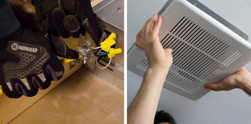 Шаги 5 и 6: подключение вентилятора к электросети и установка декоративной решетки