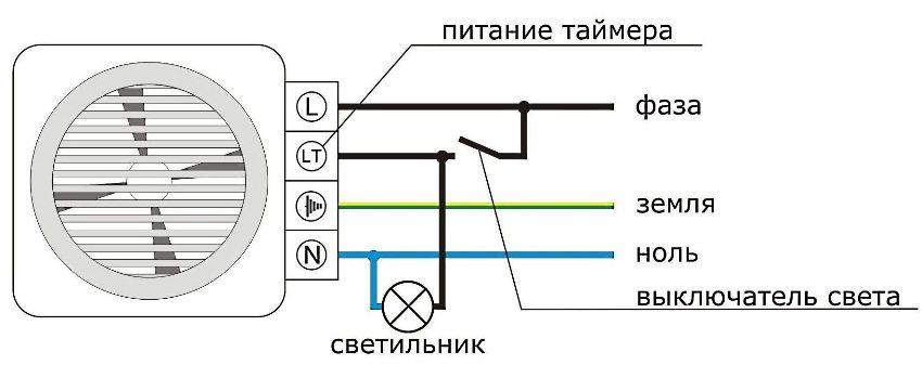 Схема подключения вентилятора со встроенным автоматическим таймером
