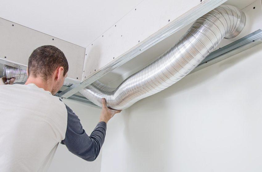 Монтаж вентиляционного канала в фальш-короб своими руками
