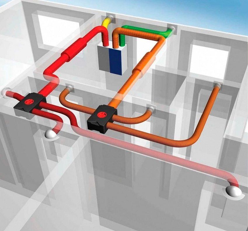Пример разводки воздуховодов внутри помещения
