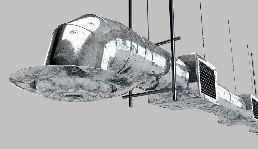 Металлические воздуховоды для вентиляции крепятся с помощью подвешивания на хомутах и на траверсах