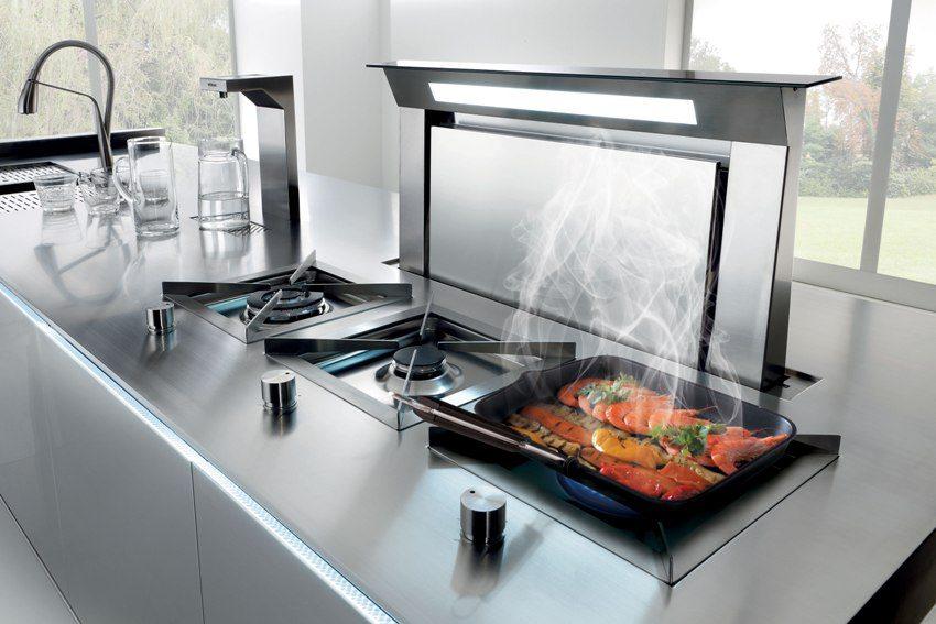 Современный дизайн кухонной вытяжки в стиле хай-тек