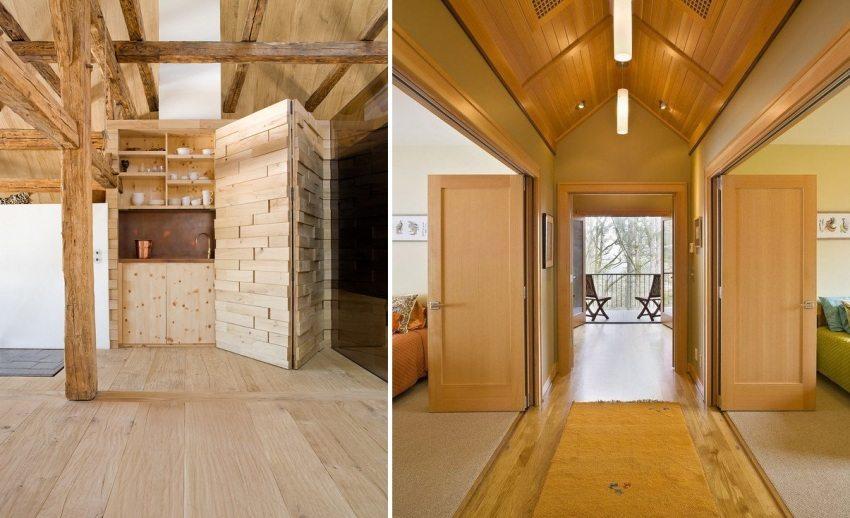 Использование деревянных складных дверей в интерьере