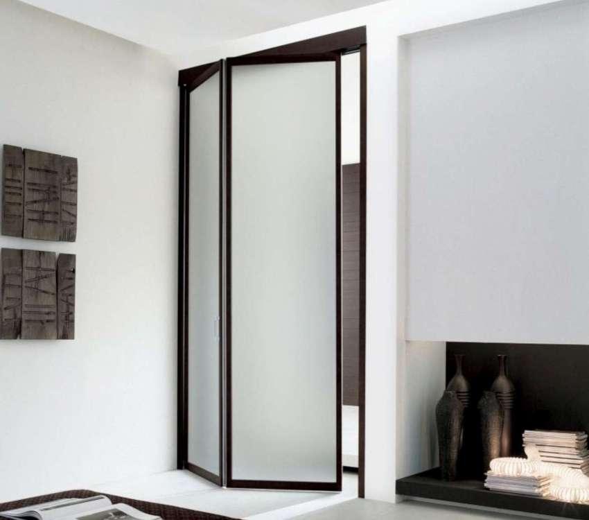Складная дверь со вставками из матового стекла