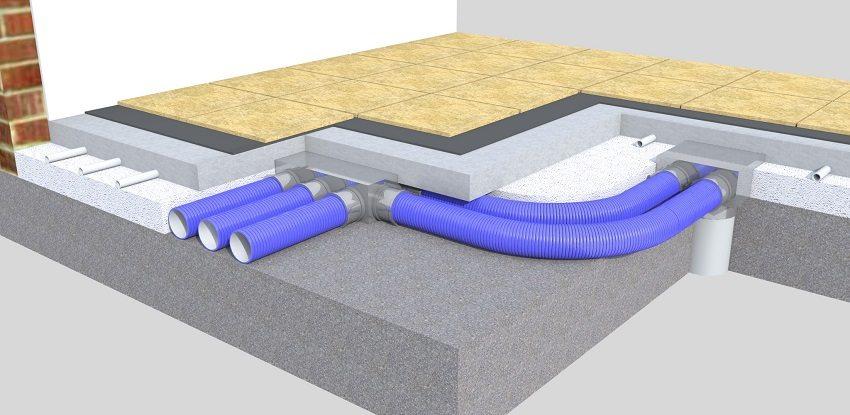 Разводку воздуховодов вентиляционной системы можно обустроить в стяжке пола
