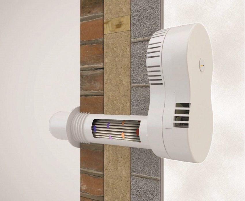 Стеновой вентиляционный приточный клапан с рекуператором