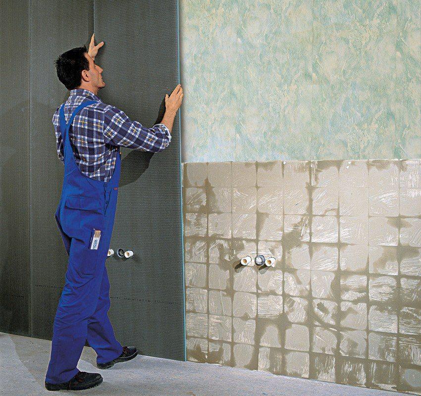 Оклеечная гидроизоляция стен ванной комнаты с помощью листового материала