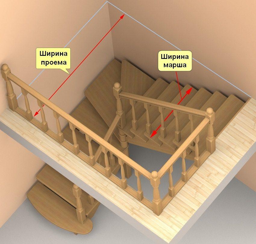 Выбор и просчет маршевой конструкции лестницы определяется шириной проема и высотой помещения