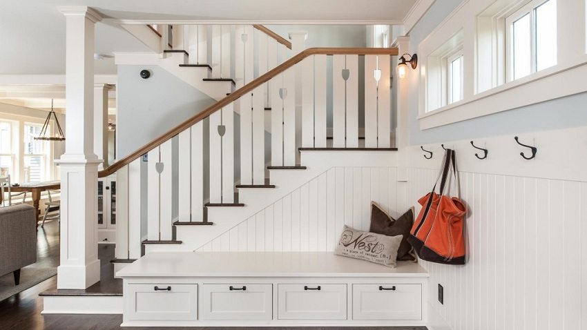 Маршевая лестница с поворотом на 180 градусов