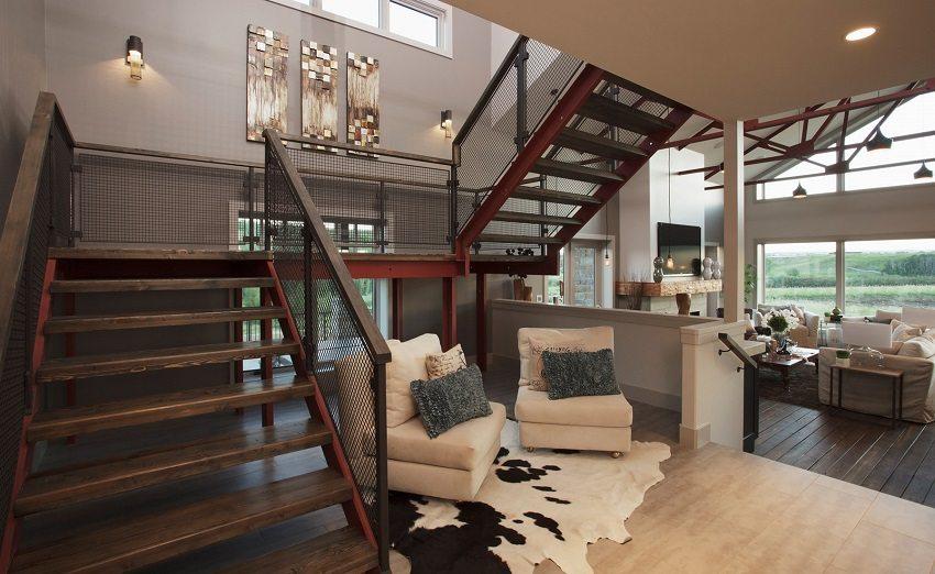 Просторная маршевая поворотная лестница с площадкой