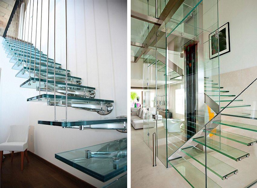 Лестницы из металла и закаленного стекла выглядят легкими и воздушными, но в эксплуатации надежны и удобны
