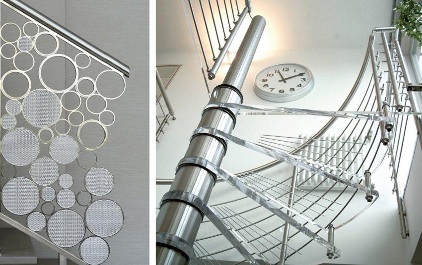 Стильные лестницы из нержавеющей стали хорошо впишутся в современный интерьер