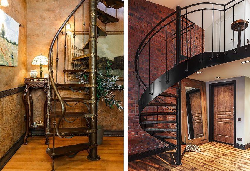 Винтовые лестницы из металла компактны и изящны