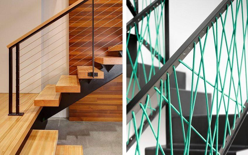 Для придания эстетичности и дополнительной безопасности конструкции лестницы, поручни можно декорировать шнуром
