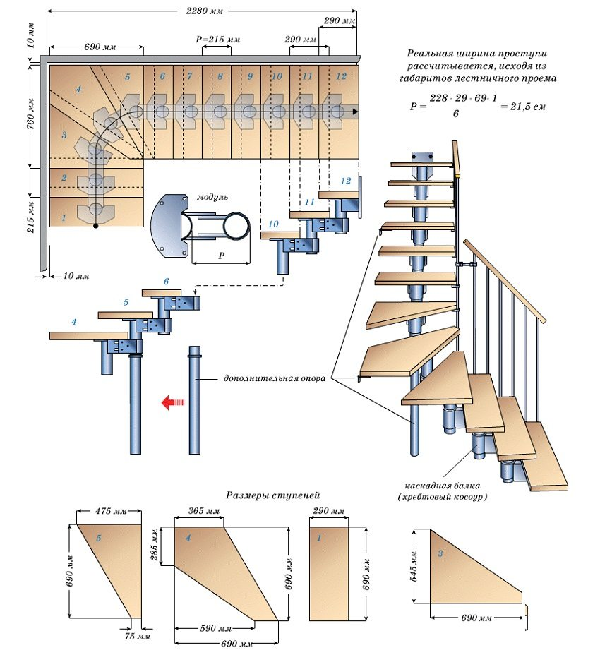 Схема модульной лестницы на хребтовом косоуре