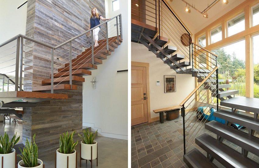 Комбинированные лестницы на металлических косоурах выдерживают достаточно весомые нагрузки