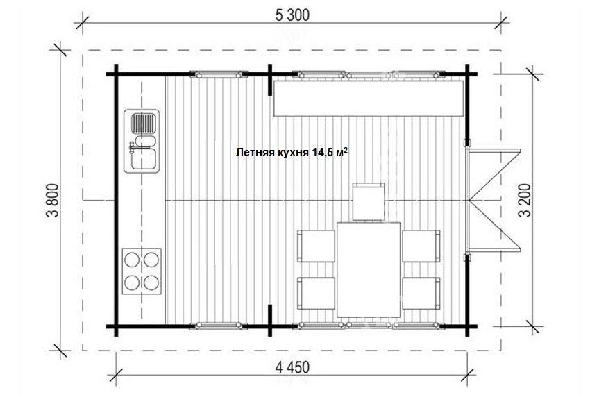 Проект отдельно стоящей летней кухни площадью 14,5 кв.м