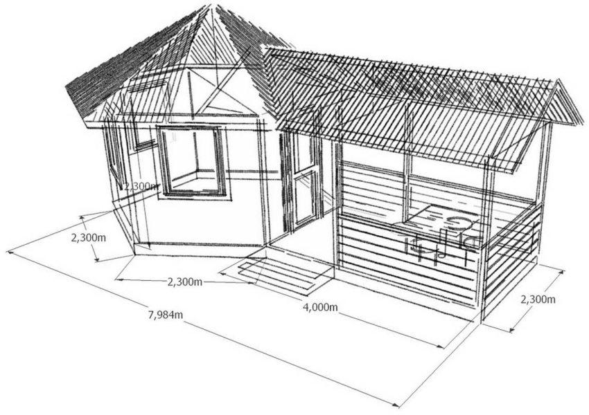 Проект деревянной беседки-кухни с небольшой террасой-столовой