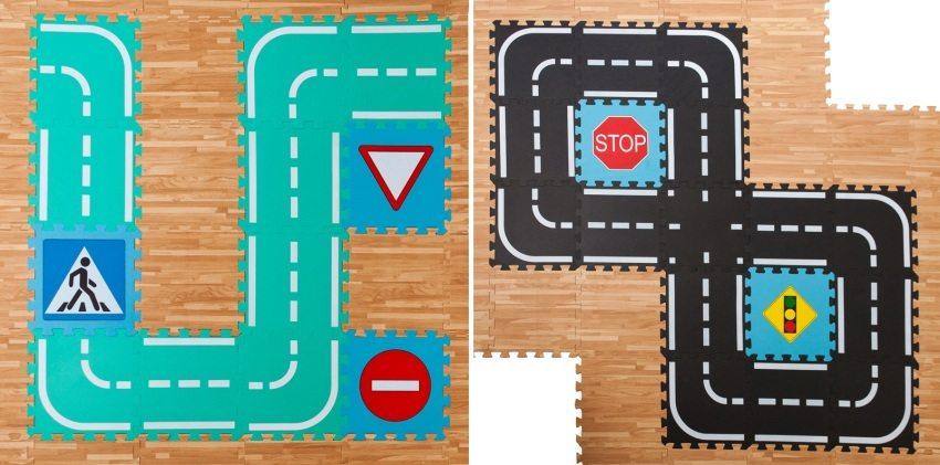 Для детей школьного возраста можно подобрать мягкое покрытие с нанесенными дорожными знаками и разметкой