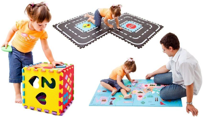 Мягкий коврик легко разбирается, ребенок по своему желанию сможет сам создавать из него различные игровые элементы