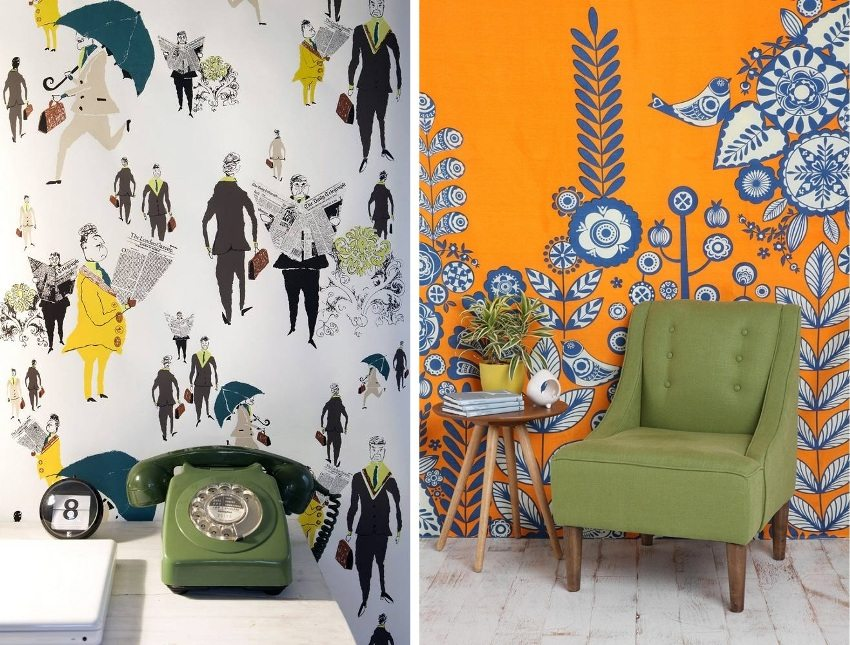 Examples of bright design wallpaper for the walls of the hallway