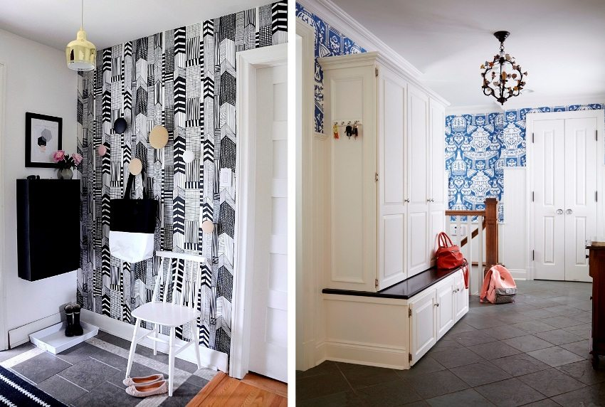 Examples of the design of the corridor wallpapered with ethnic patterns