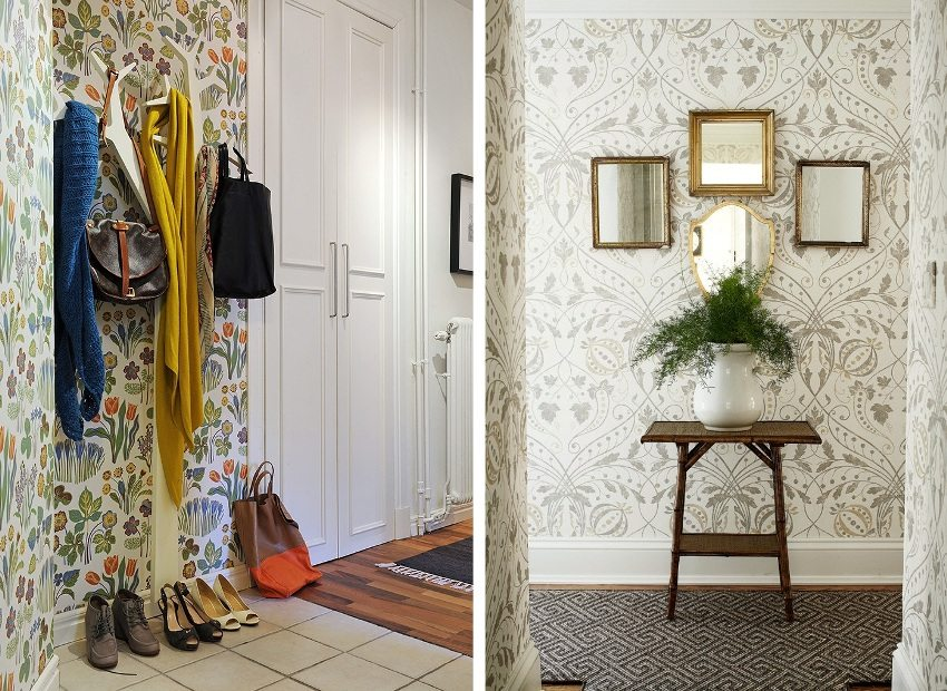 Examples of use in the interior of wallpaper with floral patterns