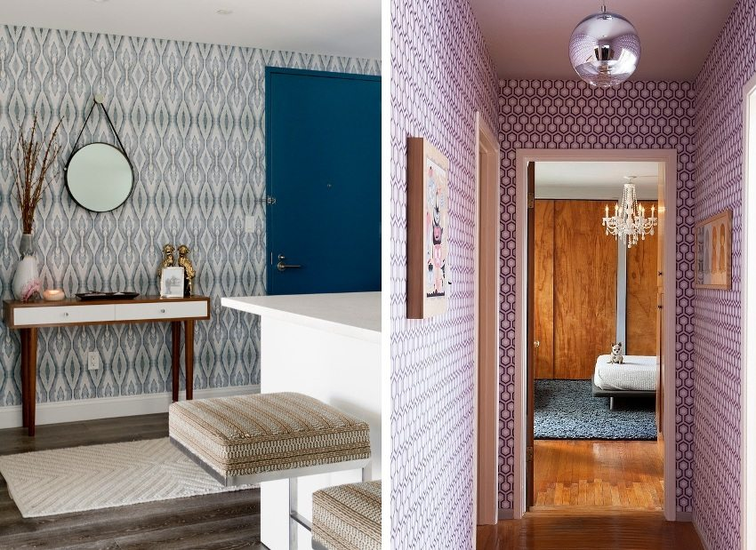 Examples of using wallpaper with a geometric pattern