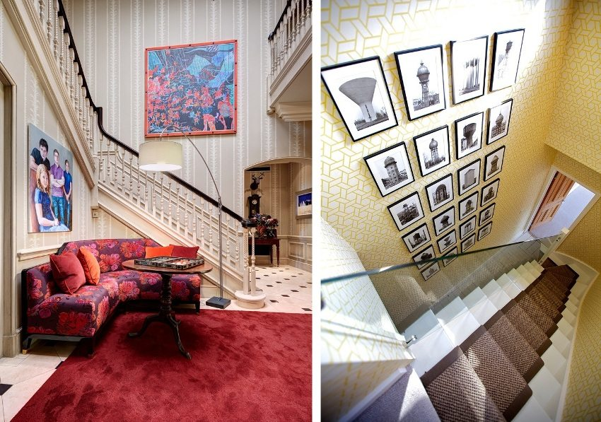 Examples of staircase design using wallpaper