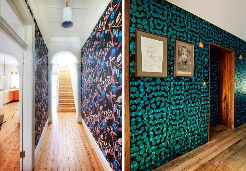 Examples of the use of bright contrasting wallpapers in the design of the hallway