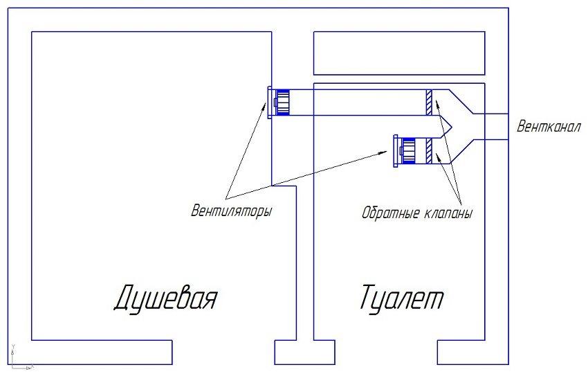 Принцип разводки вентиляции в санузле с общим вентканалом и обратными клапанами