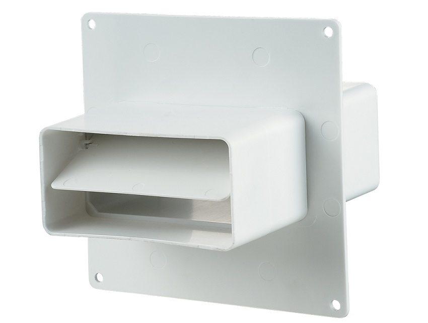 Элемент пластикового воздуховода прямоугольного сечения со встроенным лепестковым обратным клапаном