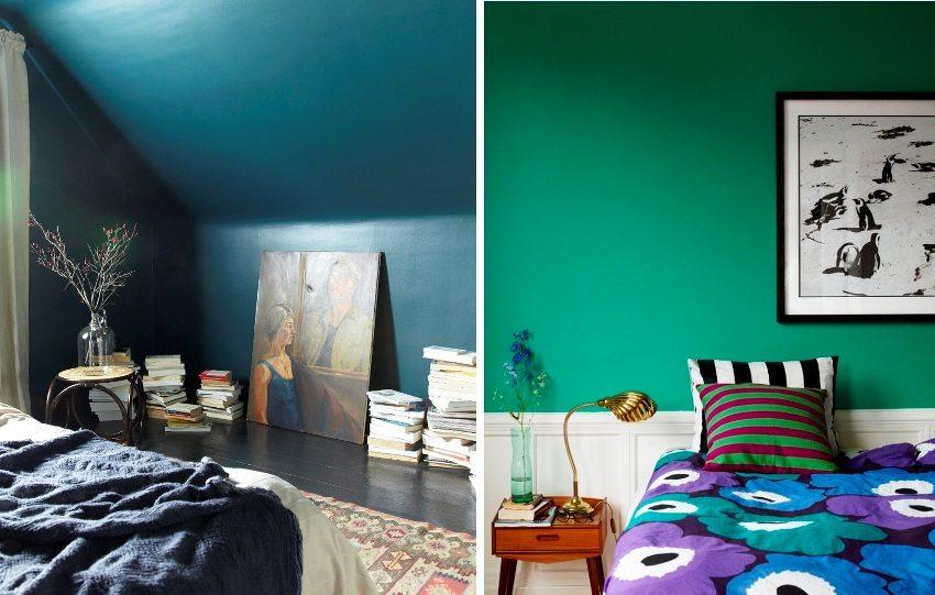 Примеры использования темных насыщенных оттенков в оформлении спальни