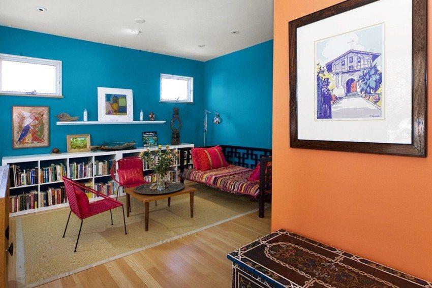Сочетание контрастных оттенков в оформлении комнаты
