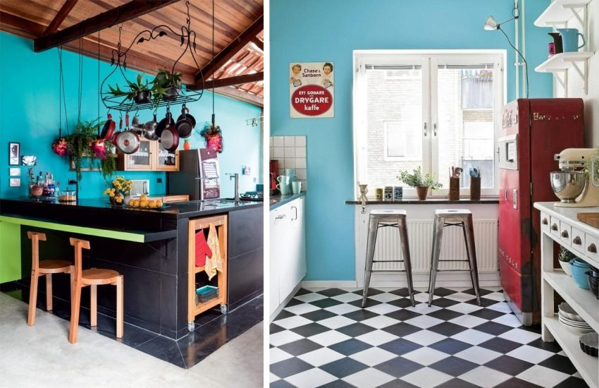 Голубые стены в оформлении винтажных кухонь