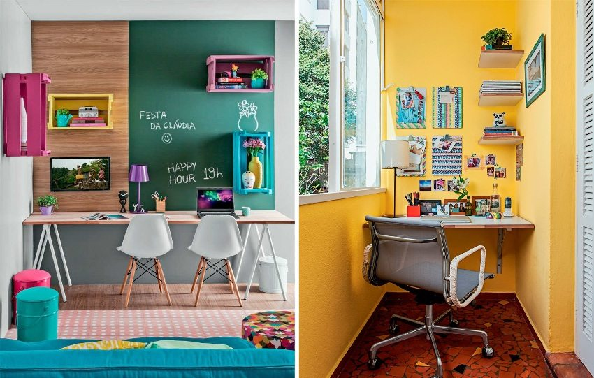 Примеры яркого оформления домашнего рабочего места