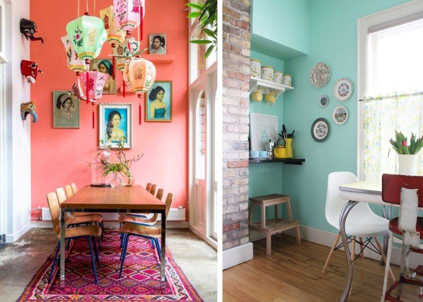Яркие примеры оформления обеденной зоны с помощью обоев под покраску