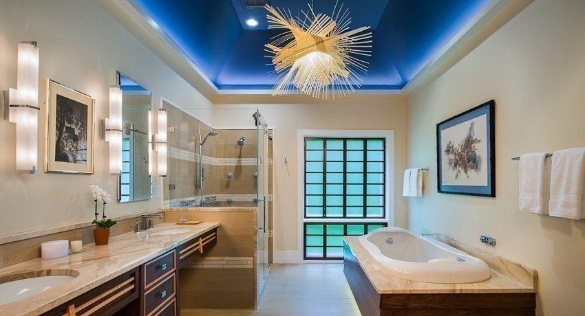 Двухуровневый подвесной потолок из гипсокартона со встроенной подсветкой