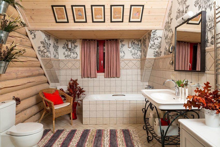 Дизайн потолка ванной комнаты должен соответствовать общей стилистике помещения