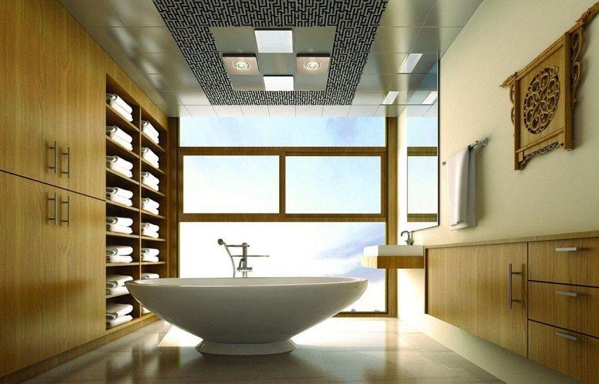 Подвесной потолок из алюминиевых панелей различных фактур и цвета смотрится очень стильно