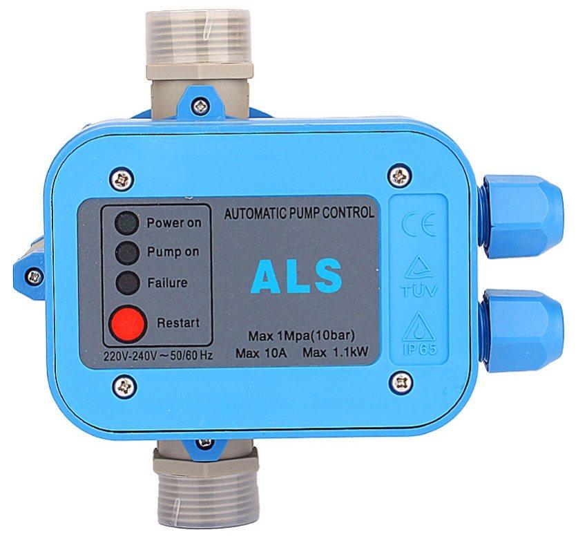 Электронный датчик предупреждает работу насоса без воды, предотвращает гидроудар, реагирует на некорректные показатели давления и расхода